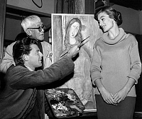 0143464 © Granger - Historical Picture ArchiveGERARD PHILIPE AND FOUJITA.   Gerard Philipe (as Amedeo Modigliani) with Anouk Aimee and painter Foujita on set of film Montparnasse 19 in 1957. Full credit: AGIP - Rue des Archives / Granger, NYC -- All rights reserved.