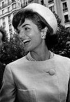 0145512 © Granger - Historical Picture ArchiveJACKIE KENNEDY.   Jackie Kennedy during her official visit to Paris 1961, Jackie wearing Alaskine (wool and silk) created by Oleg Cassini, pillbox hat created by Roy Halston Frowick. Full credit: AGIP - Rue des Archives / Granger, NYC -- All Rights Reserved.