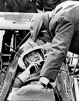 0145546 © Granger - Historical Picture ArchiveJACKIE STEWART.   racing driver Jackie Stewart in a new car talking with Mr Ken Tyrrell on february 9, 1970. Full credit: AGIP - Rue des Archives / Granger, NYC -- All rights reser