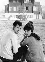 0147133 © Granger - Historical Picture ArchiveJEAN PAUL BELMONDO AND SA FEMME ELODIE.   Jean-Paul Belmondo and his wife Elodie at winter sports in switzerland on january 6, 1964. Full credit: AGIP - Rue des Archives / Granger, NYC -- All Rights Reserved.