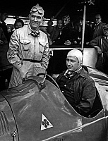 0148333 © Granger - Historical Picture ArchiveJUAN MANUEL FANGIO.   race drivers Juan Manuel Fangio and Giuseppe Farina c. 1950. Full credit: AGIP - Rue des Archives / Granger, NYC -- All rights reserved.