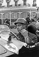 0148336 © Granger - Historical Picture ArchiveJUAN MANUEL FANGIO.   Argentinian racing driver Juan Manuel Fangio on set of a film in Monaco november 6, 1966. Full credit: AGIP - Rue des Archives / Granger, NYC -- All rights re