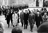 0149373 © Granger - Historical Picture ArchiveLAURENT FABIUS.   Edith Cresson, Michel Rocard, Huguette Bouchardeau, Paul Quiles, Pierre Joxe, Laurent Fabius, Gaston Deferre, Yvette Rudy going to Elysee palace to wish french president FrancoisMitterrand a happy New Year, january 3, 1985. Full credit: AGIP - Rue des Archives / Granger, NYC -- All Rights Reserved.
