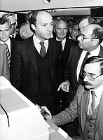 0149396 © Granger - Historical Picture ArchiveLAURENT FABIUS AND MARCEL DASSAULT.   Laurent Fabius, french prime minister, with Marcel Dassault at computer fair Paris september 19, 1984. Full credit: AGIP - Rue des Archives / Granger, NYC -- All rights reserved.