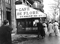 0149482 © Granger - Historical Picture ArchiveLE CAFE OF FLORE.   The cafe de Flore in Saint Germain des Pres in Paris january 1958. Full credit: AGIP - Rue des Archives / Granger, NYC -- All rights reserved.