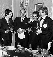 0151587 © Granger - Historical Picture ArchiveLUIS BUNUEL.   Francois Truffaut, Luis Bunuel, Jeanne Moreau and Albert Finney at giving of cinema crystal star on december 18, 1962. Full credit: AGIP - Rue des Archives / Granger, NYC -- All Rights Reserved.
