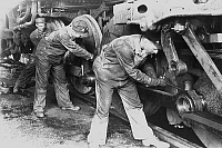 0153775 © Granger - Historical Picture ArchiveMECANICIENS.   Mechanics repairing a steam engine 30's. Full credit: AGIP - Rue des Archives / Granger, NYC -- All right