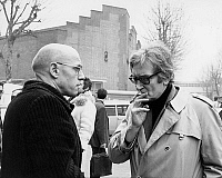 0154060 © Granger - Historical Picture ArchiveMICHEL FOUCAULT.   Michel Foucault and Maurice Clavel outside Renault (Billancourt, near Paris) factory after the murder of Pierre Overney, february 28, 1972. Full credit: AGIP - Rue des Archives / Granger, NYC -- All rights reserved.