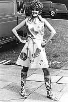 0155348 © Granger - Historical Picture ArchiveMODE HIPPIE.   Woman wearing flowered dress and boots july 19, 1967. Full credit: AGIP - Rue des Archives / Granger, NYC -- All Rights Reserved.