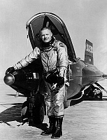 0156020 © Granger - Historical Picture ArchiveNEIL ARMSTRONG.   Dryden pilot Neil Armstrong next to the X-15 ship #1 (56-6670) after a research flight. Photograph, 1960.
