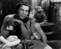 0168135 © Granger - Historical Picture ArchiveTARZAN TROUVE UN FILS.   Tarzan Finds a Son by RichardThorpe with Johnny Weissmuller (Tarzan) and Johnny Sheffield (Boy) in 1939. Full credit: CSFF - Rue des Archives / Granger, NYC -- All Rights Reserved.