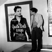 0170654 © Granger - Historical Picture ArchiveJEAN-PIERRE LEAUD (1944-).   French actor Jean Pierre Leaud in front of a poster for the film 'The 400 Blows' during the Cannes International Film Festival. Photograph, 1959. Full credit: Claude Schwartz - Rue des Archives / Granger, NYC -- All Rights Reserved.