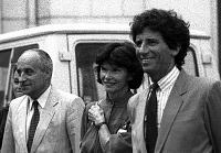 0170842 © Granger - Historical Picture ArchiveWORLD MUSIC DAY, 1984.  Composer Maurice Fleuret, Danielle Mitterrand and Jack Lang, French Minister of Culture, at World Music Day, June 1984, Paris. Full credit: Claude Schwartz - Rue des Archives / Granger, NYC -- All rights reserved.