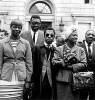0072064 © Granger - Historical Picture ArchiveJAMES BALDWIN (1924-1987).   American writer. At a civil-rights demonstration in Paris, 21 August 1963, to support the March on Washington that was held at that time. Pictured (left to right): singer May Mercer, blues pianist Memphis Slim, Baldwin, and Hazel Scott, jazz pianist/singer.