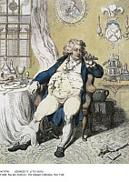 0074786 © Granger - Historical Picture ArchiveGEORGE IV (1762-1830).   King of Great Britain and Ireland, 1820-1830. As the Prince of Wales, after stuffing himself with food. Caricature etching, 1792, by James Gillray.