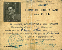 0074861 © Granger - Historical Picture ArchiveFRENCH RESISTANCE, 1944.   Card of a French Forces of the Interior (FFI) Resistance fighter during World War II, 1944.