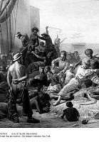 0074915 © Granger - Historical Picture ArchiveSLAVE TRADE: BRANDING.   Slave traders brand slaves on the dock. Engraving, 19th century.