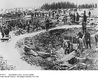 0074971 © Granger - Historical Picture ArchiveBELOMOR CANAL: SLAVE LABOR.   Soviet leader Joseph Stalin's political prisoners forced to work on the construction of the Belomor Canal in Russia, 1933.