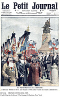 0076146 © Granger - Historical Picture ArchiveFRENCH VETERANS, 1909.   Parade of French veterans of the Franco-Prussian War in front of the Defense Monument in Courbevoie, France: front page of Le Petit Journal, 28 November 1909.