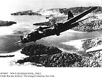 0078497 © Granger - Historical Picture ArchiveWW II: GUADALCANAL, 1942-3.   An American B-17 Flying Fortress flies over Guadalcanal in the Solomon Islands in 1942.