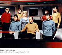 0079056 © Granger - Historical Picture ArchiveSTAR TREK, 1960s.   A scene aboard the starship Enterprise from the American television series 'Star Trek,' during its second season, 1967-68. Front row, left-to-right: DeForest Kelley, Majel Barrett, William Shatner, and Leonard Nimoy. Back row, left-to-right: James Doohan, Walter Koenig, Nichelle Nichols, and George Takei.