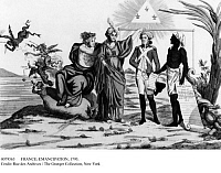 0079563 © Granger - Historical Picture ArchiveFRANCE: EMANCIPATION, 1793.   An allegorical depiction of the liberation of slaves in French colonies decreed by the Republic at a special convention in 1793. Contemporary engraving.