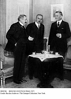 0080586 © Granger - Historical Picture ArchiveBRIAND AND PILSUDSKI, 1927.   From left: French Minister of Foreign Affairs Aristide Briand, Marshal Jozef Pilsudski of Poland, and Sir Austen Chamberlain, Foreign Secretary of Great Britain, at a meeting in Geneva, Switzerland, about the Polish-Lithuanian conflict. Photograph, 17 December 1927.