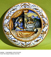 0080606 © Granger - Historical Picture ArchiveCHILDBIRTH, 16TH CENTURY.   Platter for a woman in childbed. Faience, Lyon, France, 16th century.