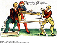 0080607 © Granger - Historical Picture ArchiveARM EXTENSION, 1540.   Orthopedic device for extending a broken arm. Woodcut from an edition of 'Feldtbuch des wundartzney' by Hans von Gersdorff, Strasbourg, 1540.