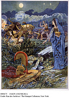 0080675 © Granger - Historical Picture ArchiveJASON AND MEDEA.   Jason plowing the fields of Mars for Medea. Illustration by Lancelot Speed for 'The Golden Fleece', London, England, c1900.