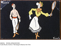0080746 © Granger - Historical Picture ArchiveTENNIS, 20TH CENTURY.   Tennis players. Humorous French postcard by Fernel, early 20th century.