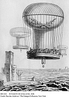 0081202 © Granger - Historical Picture ArchiveINVASION OF ENGLAND, 1804.   Imaginary view of a huge Montgolfier balloon, holding 3,000 soldiers, descending on the English coast. French engraving 1803-04.