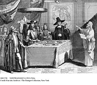 0081230 © Granger - Historical Picture ArchiveNOSTRADAMUS (1503-1566).   French physician and astrologer. Nostradamus predicting the death of King William III of England. Copper engraving, 18th century.