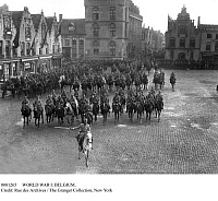0081265 © Granger - Historical Picture ArchiveWORLD WAR I: BELGIUM.   French President Raymond Poincare and King Albert I of Belgium reviewing French and Belgian cavalry at Funes, Belgium, at the beginning of World War I.