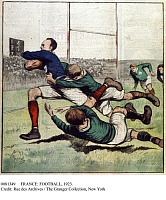 0081349 © Granger - Historical Picture ArchiveFRANCE: FOOTBALL, 1923.   French rush during a football game between France and Ireland. Illustration, 1923 from 'Le Petit Journal.'