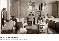 0081363 © Granger - Historical Picture ArchiveS.S. QUEEN MARY I, c1935.   A first-class cabin on the Cunard Liner 'Queen Mary.' Photograph, c1935.