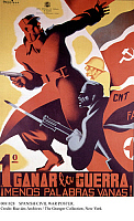 0081828 © Granger - Historical Picture ArchiveSPANISH CIVIL WAR POSTER.   Republican (Loyalist) poster from the Spanish Civil War, 1936-39, featuring both Communist and Anarchist colors and emblems.