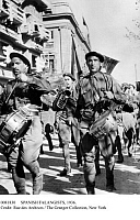 0081830 © Granger - Historical Picture ArchiveSPANISH FALANGISTS, 1936.   Falangist volunteers marching to Burgos, Spain, to join with Nationalist forces there during the Spanish Civil War, 22 October 1936.