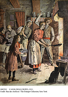 0082201 © Granger - Historical Picture ArchiveCANDLEMAS CREPES, 1911.   French illustration from 'Le Petit Journal,' 1911.