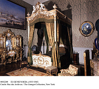 0082288 © Granger - Historical Picture ArchiveEUGENIE'S BED, c1853-1865.   The bed of French Empress Eugenie exhibited at the Saint Cloud Museum of Compiegne, France.