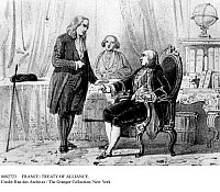 0082723 © Granger - Historical Picture ArchiveFRANCE: TREATY OF ALLIANCE.   Benjamin Franklin receives the articles of the Treaty of Alliance with France from King Louis XVI in June 1778. Lithograph, 19th century.
