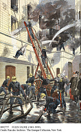 0082757 © Granger - Historical Picture ArchiveFELIX FAURE (1841-1899).   French politician. President of France, 1895-95. The president watches firemen on the job in Paris. Illustration from 'Le Petit Journal,' 20 February 1898.