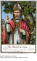 0082795 © Granger - Historical Picture ArchiveSAINT BONIFACE (c675-754).   English missionary monk and martyr, called the Apostle of Germany. English Benedictine missionary. Saint Boniface on a German lithograph, late 19th century.