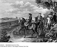 0082876 © Granger - Historical Picture ArchiveFREDERICK II (1712-1786).   King of Prussia, 1740-1786. Line engraving after the painting by David Chodowiecki, c1777.