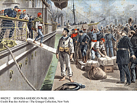 0082912 © Granger - Historical Picture ArchiveSPANISH-AMERICAN WAR, 1898.   The first prisoners arrive at Key West, Florida. Illustration from a French newspaper of 8 May 1898.