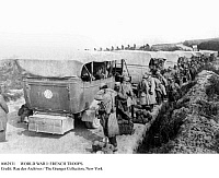 0082931 © Granger - Historical Picture ArchiveWORLD WAR I: FRENCH TROOPS.   French soldiers being transported to what was to be a French victory at the first Battle of the Marne, France. Photograph, 27 August 1914.