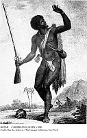 0082948 © Granger - Historical Picture ArchiveCARIBBEAN SLAVERY, c1800.   A maroon or runaway slave on a Caribbean Island. Engraving, c1800.