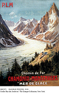 0082971 © Granger - Historical Picture ArchiveRAILWAY POSTER, 1910.   French advertising poster, 1910, for the Chamonix-Montenvers Railway, passing the Sea of Ice Glacier in the French Alps.