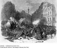 0083003 © Granger - Historical Picture ArchiveNAPOLEON III: COUP, 1851.   Barricades in Faubourg Saint Antoine, Paris, France, during the coup staged by President Louis-Napoleon Bonaparte on 2 December 1851. Contemporary wood engraving.