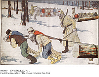 0083007 © Granger - Historical Picture ArchiveSOVIET GULAG, 1931.   Prisoners hauling wood in a labor camp somewhere in the Soviet Union. French illustration by Gigmoux, 1931.